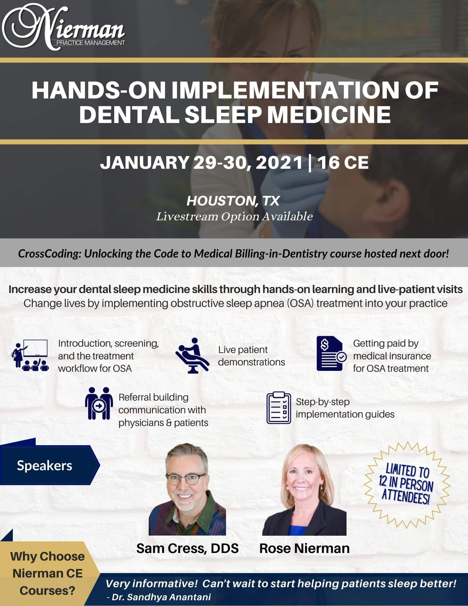 Hands-on Dental Sleep Medicine Course Jan 29-30, 2021 in Houston, TX w Dr. Sam Cress and Rose Nierman - Nierman Practice Mgmt