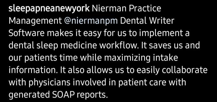 DentalWriter testimonial dental sleep medicine system