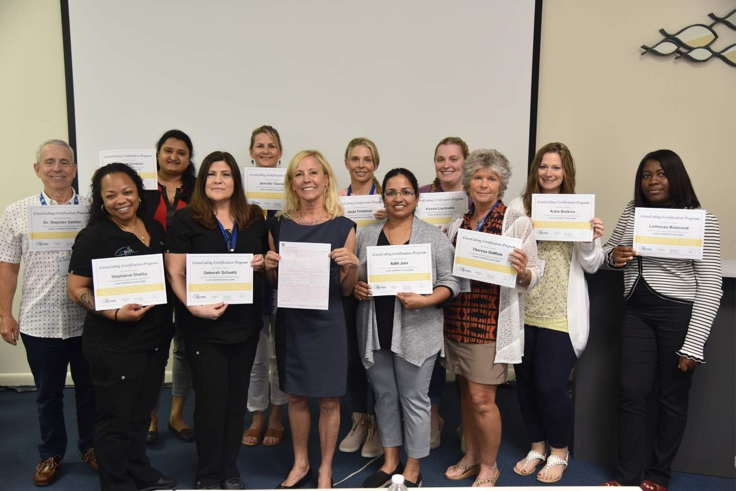 Rose Nierman with Medical Billing/ CrossCoding Attendees and their certificates