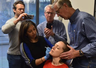 Dr. Ely administering trigger point injection during the orofacial pain mini-residency